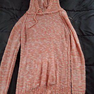 xl orange white blend hooded sweater